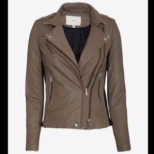 IRO Vika taupe and black leather jacket -40
